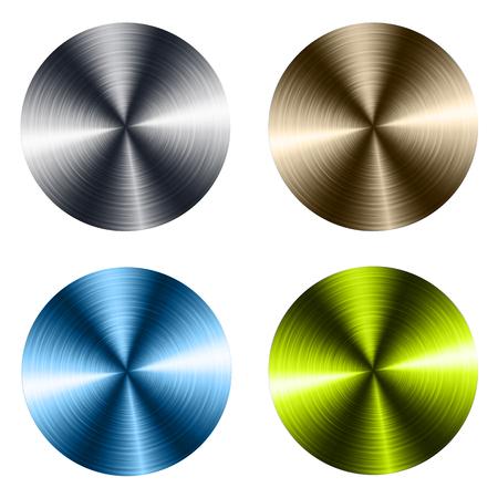 Circular metallic vector plates, metal textures. Illustration