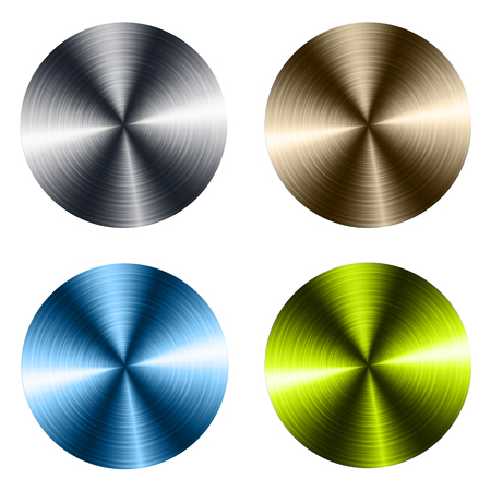 Circular metallic vector plates, metal textures. Illustration
