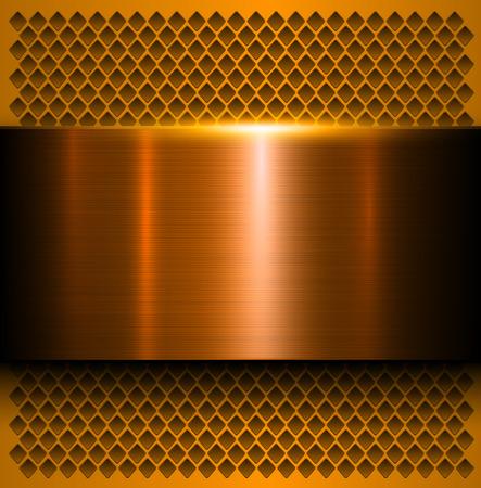 cobre: Fondo del metal, textura metálica pulida, ilustración vectorial