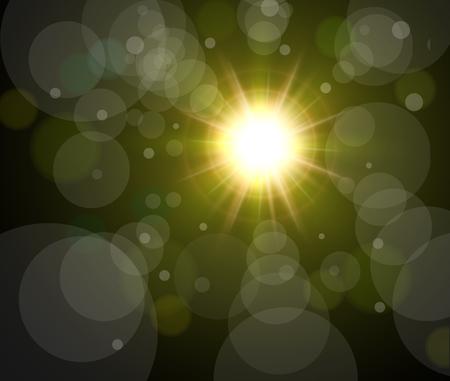gaze: Vector star, sun with bokeh lens flare background