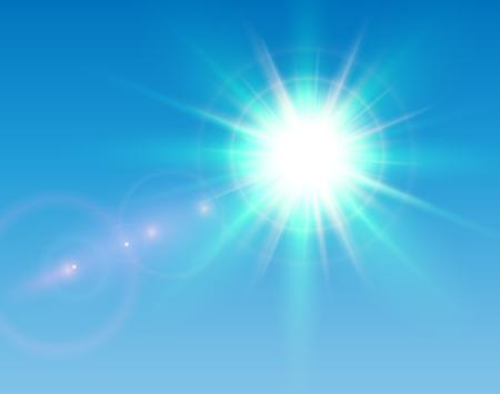 Sun avec lens flare et ciel bleu, fond vecteur ensoleillé.