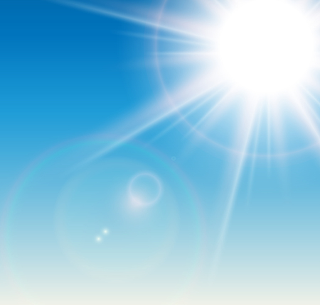 Sun with lens flare and blue sky, vector background. Illustration