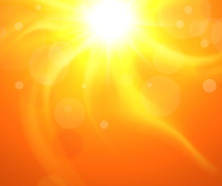 glaring: Orange background with glaring sun, vector illustration sunny.