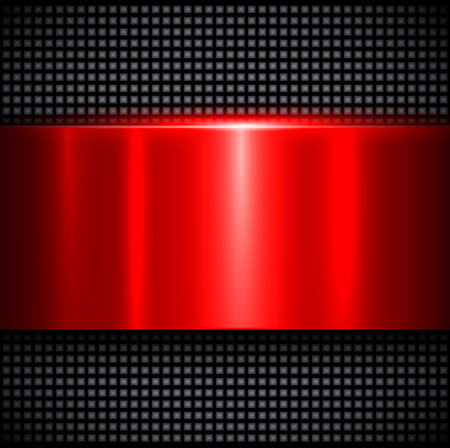 Metal background, polished metallic red texture, vector illustration Ilustração