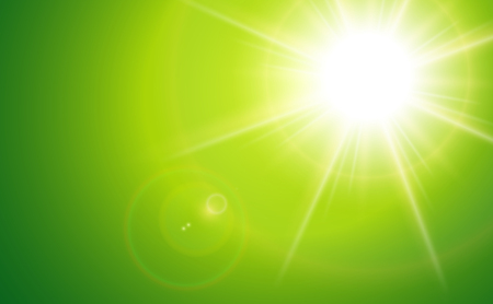 sun lit: Sun with lens flare, green vector background.