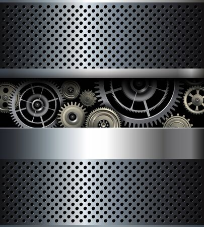 shiny metal background: Background metallic gears, vector shiny metal design. Illustration