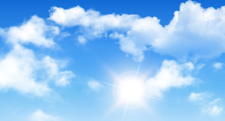 Blue sky with clouds and sun, perfect day background.