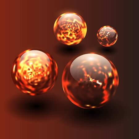 fiery: 3D background with magma fiery balls Illustration
