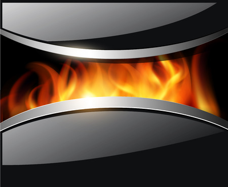 shiny black: Abstract 3D shiny black background, with fire flames.