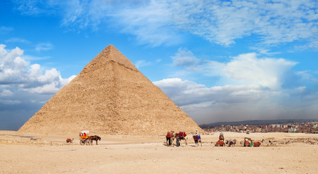 Giza Pyramid Cheops. Landscape of the great pyramids of Giza, Egypt Stock Photo