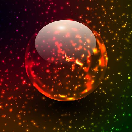 Transparent sphere on star field, fictional bacground.