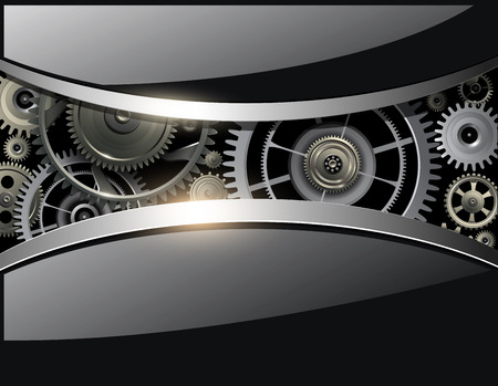 shiny black: Abstract 3D shiny black background, with gears Illustration