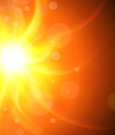 Sun background, orange and sunny vector design.