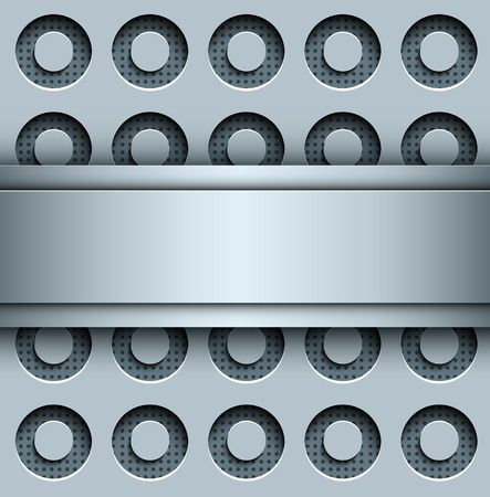 perforated: Background with perforated seamless pattern, 3D silver vector illustration.