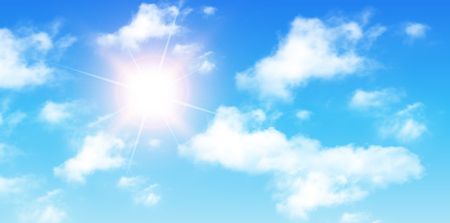 cloudy day: Blue sky with clouds and sun, perfect day vector background.