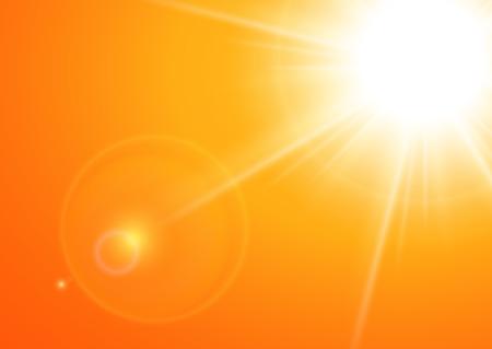 glaring: Sun with lens flare, orange vector background.