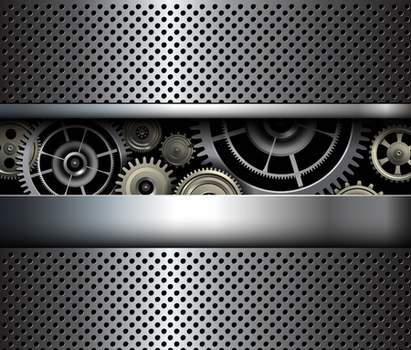 shiny metal background: Background metallic gears, vector shiny metal grid design.