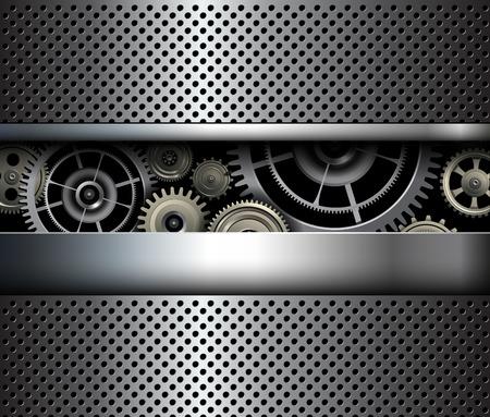 shiny metal background: Background metallic gears, vector shiny metal grid design.