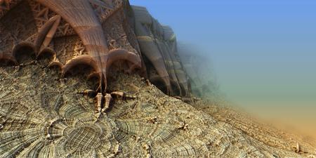 Alien planet sci-fi background. 3D digitally rendered illustration Stock Photo