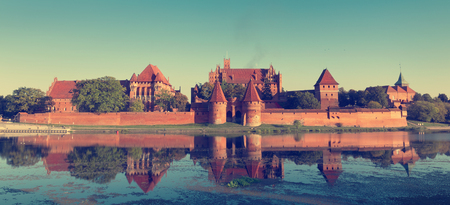 unesco: Vintage photo of Malbork castle,  UNESCO World Heritage Site, Poland. Editorial