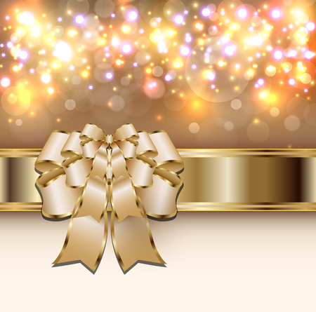 Christmas background gold lights with a bow, vector illustration Illustration