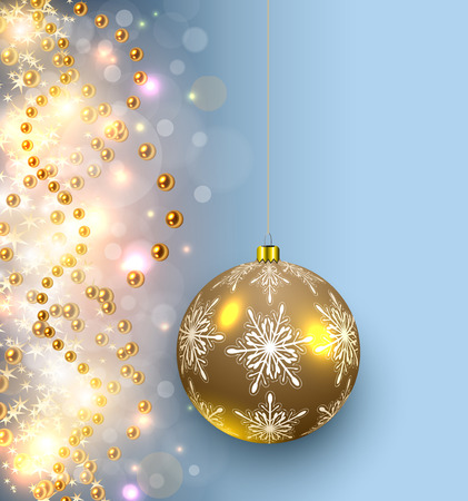 Christmas background glittering lights and shiny gold glass ball