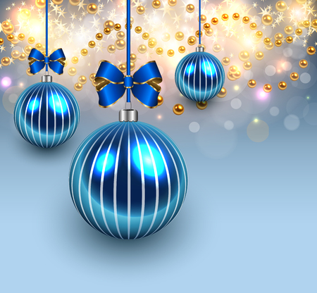 blue glass: Christmas background with blue shiny glass balls.