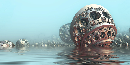 sci: Background with fantastic 3D spheres in water, abstract sci fi design. Stock Photo