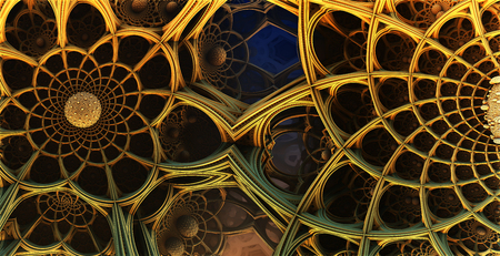 futuristic city: Abstract background, fantastic 3D  structures, fractal gold design.