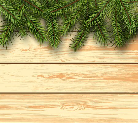christmas backgrounds: Christmas background. Christmas fir tree on white wooden board background with copy space Illustration