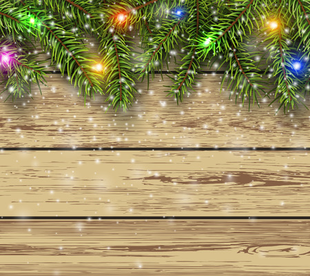 Christmas background, fir tree on wooden board background with copy space