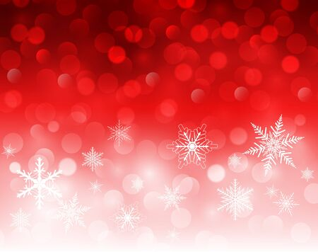 blinking: Christmas background red blinking bokeh with snowflakes, vector  illustration Illustration