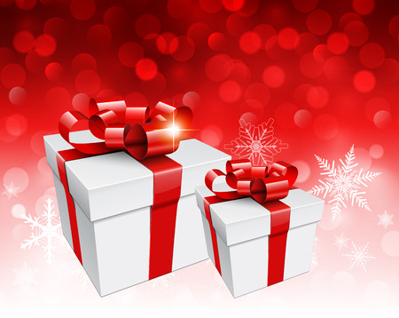 blinking: Christmas background with gift boxes over red blinking bokeh, vector  illustration