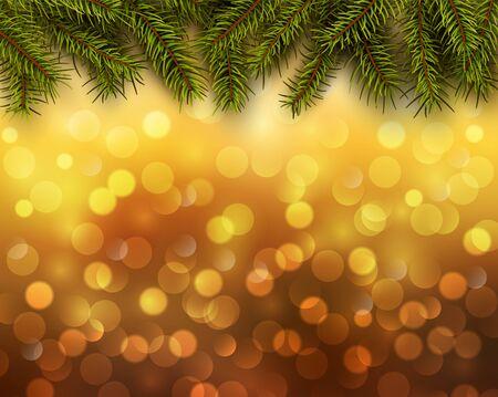 blinking: Christmas abstract background orange blinking bokeh with pine tree. Illustration