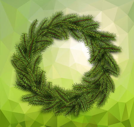 Christmas green wreath on abstract mosaic background. Vector christmas decoration