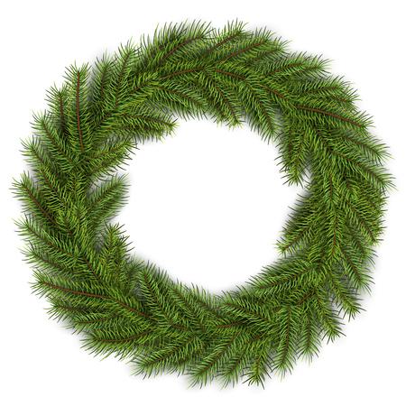 Christmas wreath green fir tree. Vector 3D christmas background.