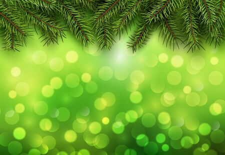 blinking: Christmas abstract background green blinking bokeh with pine tree. Illustration
