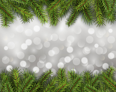 blinking: Christmas abstract background blinking bokeh with pine tree.