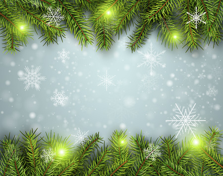 Christmas background, pine tree with lights and snow, vector illustration.