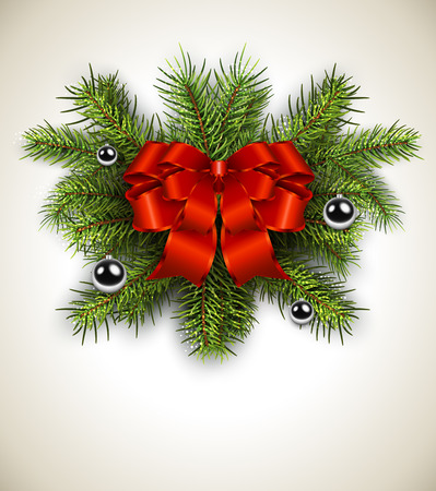 White card with Christmas wreath and red bow. Vector christmas background.