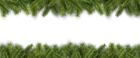 christmas backgrounds: Christmas background green pine tree branches on white, realistic vector illustration.