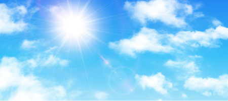 sky sun: Sunny background, blue sky with white clouds and sun, vector illustration.