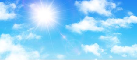 Zonnige achtergrond, blauwe lucht met witte wolken en zon, vectorillustratie. Stock Illustratie