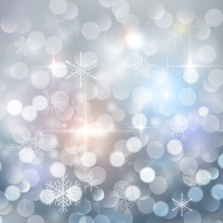 blinking: Christmas background with snowflakes and blinking bokeh, winter vector  illustration Illustration