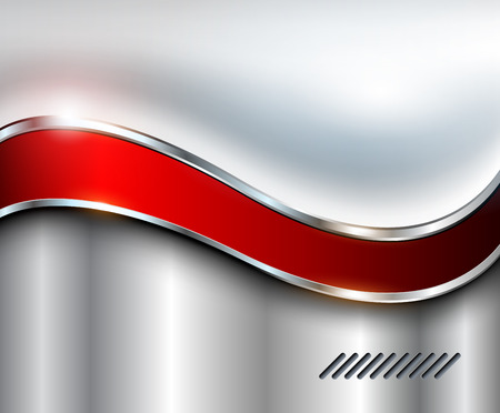 metallic background: Abstract silver background, metallic with red wave.