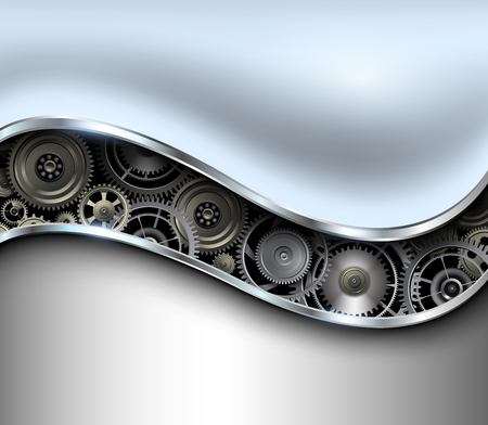 rackwheel: Abstract background metallic chrome silver with gears, vector.