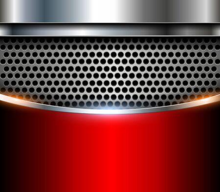 Elegant metallic background, perforated pattern red vector illustration