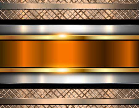 fondo elegante: fondo metálico, naranja brillante de metal textura, ilustración vectorial. Vectores