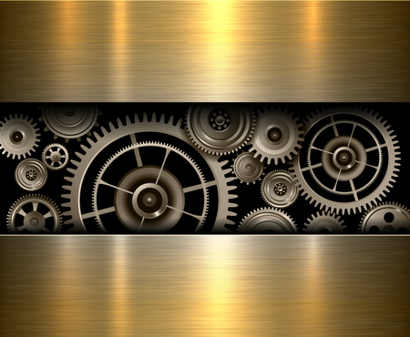 rackwheel: Background metallic gears, vector shiny metal design. Illustration
