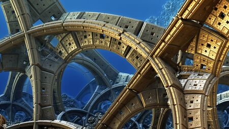 fictional: Abstract background, fantastic 3D structures, fictional background. Stock Photo